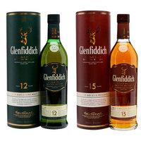 格兰菲迪12年单一麦芽威士忌700ml+格兰菲迪15年单一麦芽威士忌700ml
