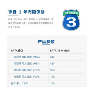 Western Digital 西部数据 M.2 WDS500G2B0B 固态硬盘 (500GB、M.2)