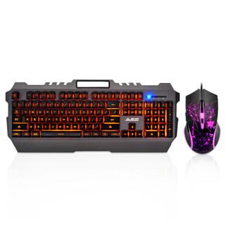 黑爵(AJAZZ)机械战狼 真机械手感键盘鼠标两套装 台式电脑笔记本游戏外设键鼠套装