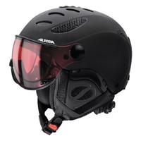 ALPINA 17款单双板雪盔 男女滑雪板头盔 一体盔含雪镜尺寸可调A9037超轻 黑色A9037435 58-60