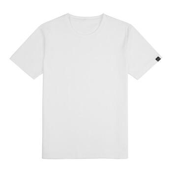 京造 男士简约长绒棉纯色圆领短袖T恤 白色 L