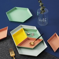 竹木兰花 创意几何彩色托盘零食盘 四件套