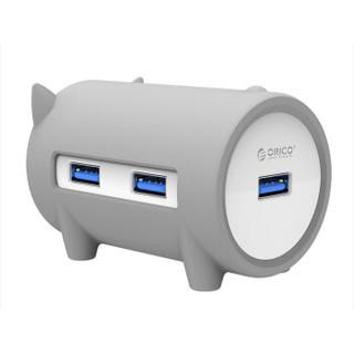 ORICO 奥睿科 H4018-U3 猪年纪念款 猪形USB集线器 (灰色)