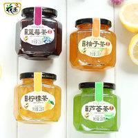 花圣 四瓶装果茶 蜂蜜果茶酱 (238g*4、柚子味、 柠檬味、 芦荟味、 蓝莓味 、瓶装)