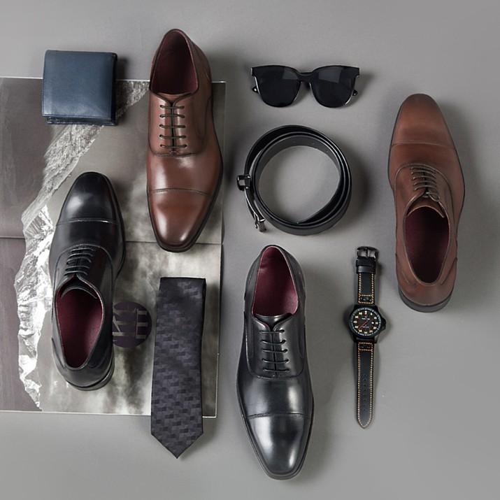 京造 男士三接头商务正装皮鞋