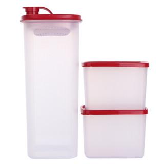 特百惠(Tupperware)保鲜盒冷水壶纤巧实惠套装 冷藏储藏保鲜盒0.8L*2 纤巧壶2L*1 食物制备礼盒