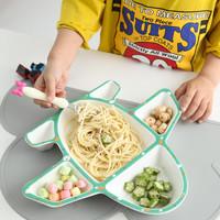 yomerto 悠米兔 宝宝餐盘儿童餐具陶瓷创意卡通飞机盘子碗可爱家用分格盘 飞机盘 红