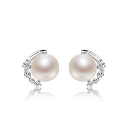 京润珍珠 秘密花园系列 S925银 淡水珍珠耳钉