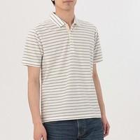 MUJI 无印良品 M8SB704 男士棉条纹POLO衫