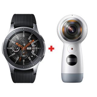 三星(SAMSUNG)Samsung Galaxy Watch 46mm智能手表+360度 全景相机 智能全新体验 钛泽银手表+运动相机