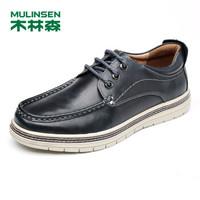 MULINSEN 木林森 男士 潮流休闲时尚 PU 车缝线 板鞋 SL77317 黑蓝、40