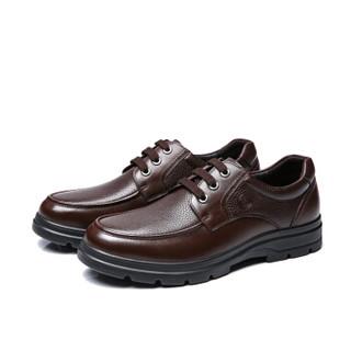 骆驼牌 男士 商务休闲 头层牛皮 车缝线 休闲皮鞋 W832211010 黑色、42