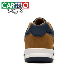 CARTELO 卡帝乐鳄鱼 2019夏季 男士 防滑舒适 人造皮革 车缝线 户外鞋  KDL825 深蓝黄、41