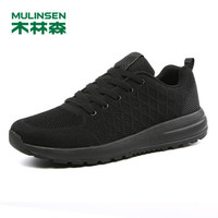 MULINSEN 木林森 男士 舒适防滑 织物 车缝线 健步鞋 SL87614 黑色 、42