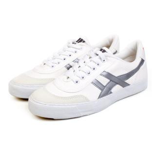 WARRIOR 回力 经典龙翔系列 男女 复古网球鞋 帆布拼接 帆布鞋 WK-1 白色、42