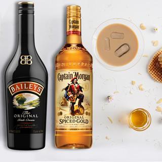 百利 甜酒配制酒 750ml+摩根船长 金朗姆酒 700ml