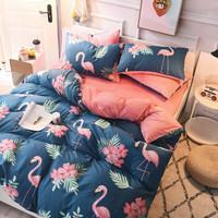 九洲鹿 加厚保暖亲肤法兰绒四件套 珊瑚绒冬季双人水晶绒床上用品 被套床单枕套 1.5/1.8米床 200*230cm *7件