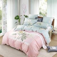 水星家纺 全棉四件套纯棉 贡缎活性印花床单被罩被套床上用品套件 花舞墨影 双人加大1.8米床