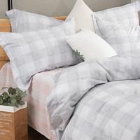 自然醒纯棉全棉斜纹床单四件套活性印花双人床床上用品 双人 锦尚-灰1.5/1.8m床(被套200*230cm)