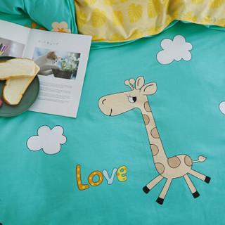 南极人(NanJiren)家纺套件 卡通可爱全棉床上用品套装 单人学生三件套 1.2米床 被罩被套150*200cm 四季