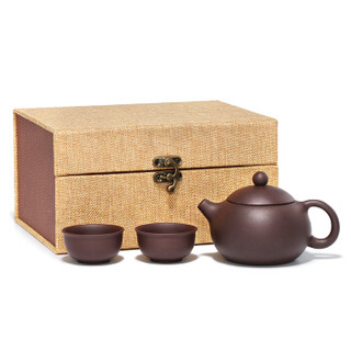 金镶玉 宜兴紫砂壶 功夫茶具原矿紫泥手工茶壶茶杯一壶二杯 倒把西施壶