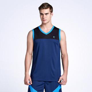 QIAODAN 乔丹 针织篮球套时尚训练篮球队服 XNT2372195 男款 日蚀蓝/黑色 2XL