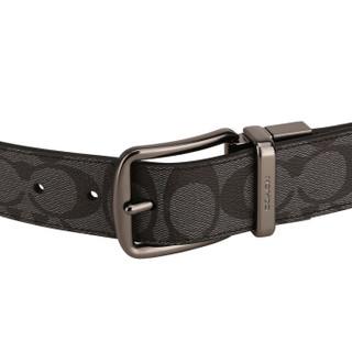 COACH 蔻驰 奢侈品 男士炭灰色PVC腰带皮带 F64839 CQ/BK