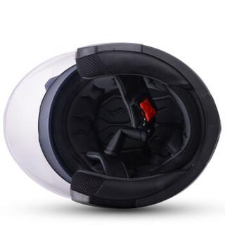 野马(YEMA)623摩托车头盔男女士夏季机车安全帽双镜片电动车半盔 四季 均码 亚黑