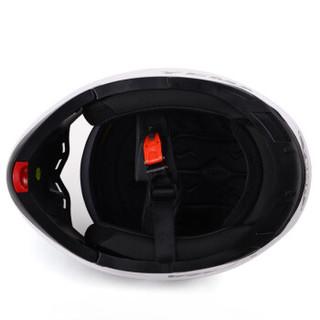 野马(YEMA)925摩托车头盔男全盔双镜片揭面盔女 夏季机车安全帽配防雾镜片 四季 XL码 白色