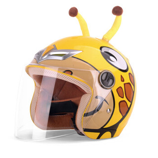 野马(YEMA)儿童头盔可爱卡通安全帽摩托车电动车头盔男女童四季半盔 冬季 均码 长颈鹿
