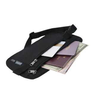 美国pack all 多功能隐形腰包男女薄款 旅行证件护照包卡包 防电子窃盗腰包 黑色(防RFID射频识别款)