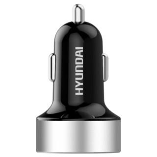 现代(HYUNDAI)4.8A汽车车载充电器 智能快充/车充点烟器一拖二USB 银色 HY-36