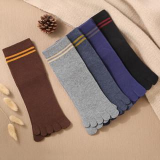 北极绒 条纹休闲五指袜秋冬时尚款 中筒棉质男士中筒袜子男袜5双装 均码