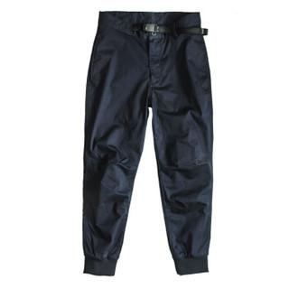 AK男装(AKSERIES)都市特工腰头扣袢罗纹收脚口休闲裤1712018 藏青 34