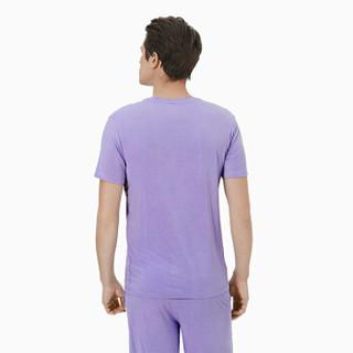 INTERIGHT男士 薄荷抗菌柔肤圆领短袖短裤睡衣家居服套装 淡紫色 M
