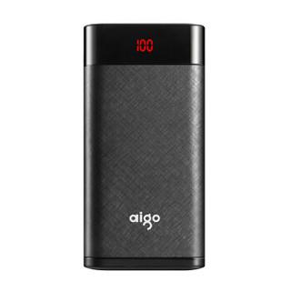 爱国者(aigo)20000毫安 W200 移动电源/充电宝 LED数显  苹果/安卓双输入大容量 手机/平板通用 黑色