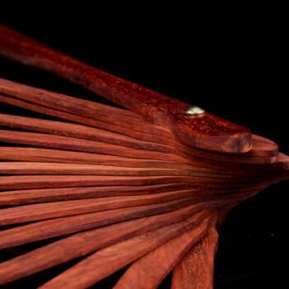 沐恩 小叶紫檀扇子大料实木无拼补宣纸折扇空白扇面 8寸 长约26cm BJ0405