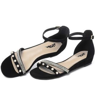 ARIOUULSS 阿偶 凉鞋女珍珠水钻平跟潮流简约时尚学生舒适休闲百搭 A823220080 黑色 37