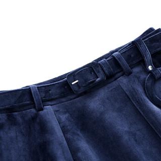 尚都比拉(Sentubila) 纯色圆扣装饰配腰带显瘦A字半身裙 174Q0618860 藏蓝色 M