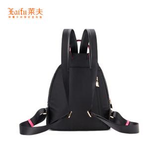 莱夫 莱夫双肩包女士背包休闲旅行韩版帆布包F8210323黑色中号