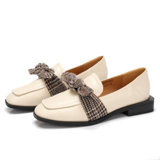 CAMEL 骆驼 女士 复古优雅蝴蝶结方头低跟单鞋 A83514658 米色 35