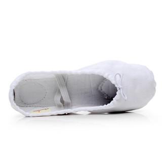 情妮娇 儿童舞蹈鞋 女软底练功鞋瑜伽鞋猫爪鞋形体跳舞鞋芭蕾舞鞋成人04款白色24码