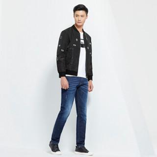柒牌(SEVEN)夹克 青年时尚韩版潮男春款拼接茄克外套 113K28010 黑色 165