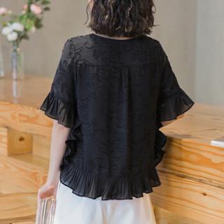 欧偲麦 喇叭袖上衣女荷叶边雪纺衫女夏季2018新款小衫显瘦气质打底韩版时尚 1300 黑色 XL