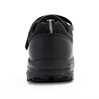 健足乐 老人鞋中老年休闲运动健步 魔术贴轻盈软底缓震爸爸舒适防滑  黑色,男款J832318760 44