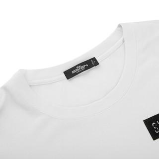 柒牌(SEVEN)长袖T恤 休闲修身圆领t恤男长袖长t 112T58700 大白 2XL/185