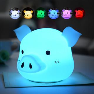 兔哥之家 创意小礼品情人节礼物小夜灯实用生日礼物送女友儿童女生拍拍灯傻乐猪硅胶灯