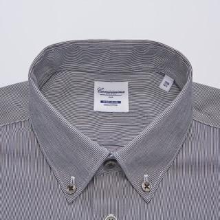 恺米切 (CAMICISSIMA)50次机洗免烫长袖男士衬衫 黑色条纹修身衬衣 IBC7A014MSY90 黑色 42