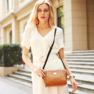LANVERA 女包单肩包女欧美时尚小ck包潮流百搭斜挎女士包包 L8612棕色