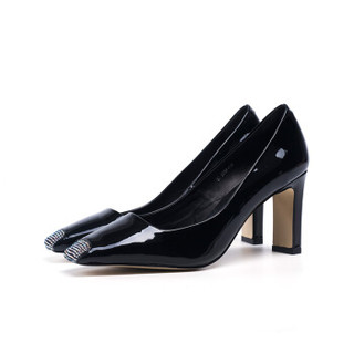 Universe 浓情漫宇 性感水钻小方头浅口舒适粗高跟女单鞋H137 黑色34